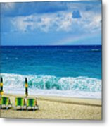 Deck Chairs And Distant Rainbow Metal Print