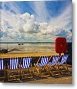 Deck Chairs At Southend On Sea Metal Print