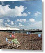 Deckchairs On Brighton Beach Metal Print
