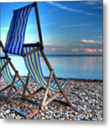 Deckchairs On The Shingle Metal Print