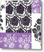 Deco Flower Patchwork 3 Metal Print by JQ Licensing