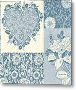 Deco Heart Blue Metal Print by JQ Licensing