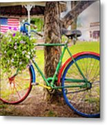 Decorated Bicycle In The Park Metal Print
