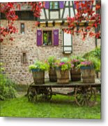 Half-timbered House, Riquewihr, Alsace,france  Metal Print