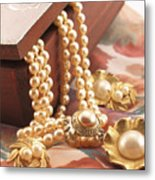 Decorated Carved Box In Aluminum And Pearl Necklace Metal Print