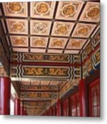 Decorated Columned Hall Of A Chinese Temple Metal Print