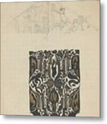 Decorative Design And Sketch Of The Front Tympanum Of The Royal Palace In Amsterdam, Carel Adolph Li Metal Print