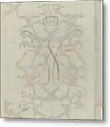 Decorative Design With Crowned W, Carel Adolph Lion Cachet, 1874 - 1945 Metal Print