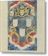 Decorative Design With The National Coat Of Arms, Flags And Banners, Carel Adolph Lion Cachet, 1874  Metal Print