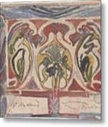 Decorative Design With Two Signatures, Carel Adolph Lion Cachet, 1874 - 1945 Metal Print