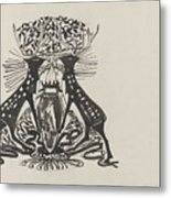 Decorative Design With Two Standing Deer, Carel Adolph Lion Cachet, 1874 - 1945 Metal Print