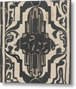 Decorative Design With Two Stylized Lions, Carel Adolph Lion Cachet, 1874 - 1945 Metal Print