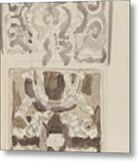 Decorative Designs With Seated Figures, Carel Adolph Lion Cachet, 1874 - 1945 Metal Print