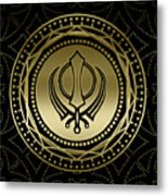 Decorative Khanda Symbol Gold On Black Metal Print