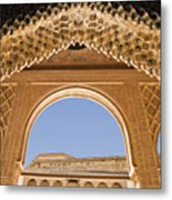 Decorative Moorish Architecture In The Nasrid Palaces At The Alhambra Granada Spain Metal Print