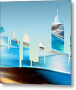 Decorative Skyline Abstract New York P1015b Metal Print