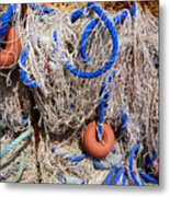 Deep Blue Net Metal Print