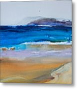 Deep Blue Sea And Golden Sand Metal Print