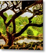 Deep Cuts Gazebo Between The Tree Branches Metal Print
