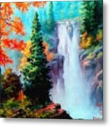 Deep Jungle Waterfall Scene. L A  Metal Print