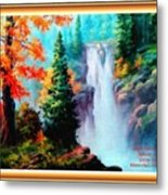 Deep Jungle Waterfall Scene L A With Alt. Decorative Ornate Printed Frame. Metal Print