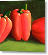 Deep Red Peppers Metal Print