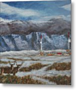 Deer And Drilling Rig Metal Print