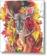 Deer And Fall Leaves Metal Print