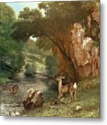 Deer By A River Metal Print
