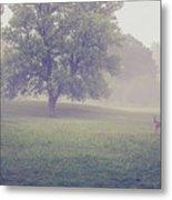 Deer By Barn On A Foggy Morning Metal Print