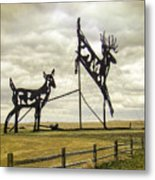 Deer Crossing Metal Print