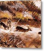 Deer Crossing Metal Print