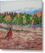 Deer In Fall Metal Print