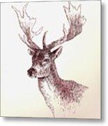 Deer In Ink Metal Print