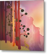 Deer In The Forest - Abstract And Colorful Mountains Metal Print
