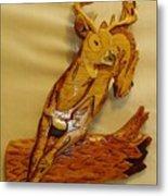 Deer Jumping Over A Log Metal Print