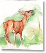 Deer Painting In Watercolor Metal Print