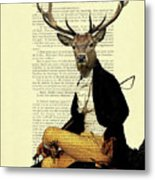 Deer Regency Portrait Metal Print