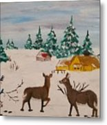 Deer Scene Metal Print