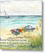 Deerfield Beach Umbrellas Psalm 63 Metal Print