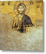 Deesis Mosaic Hagia Sophia-christ Pantocrator-judgement Day Metal Print