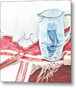 Delft And Linens Metal Print by Kathryn B