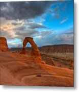 Delicate Arch Sunset Metal Print by Jeff Clay