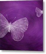 Delicate Butterflies Purple Metal Print