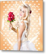 Delicate Young Woman Holding Flower Bunch Metal Print