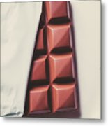 Delicious Chocolate Bar In Wrapping On Plate Metal Print