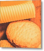 Delicious Cookies With Piece Of Butter Metal Print