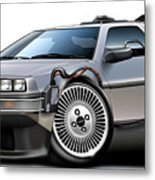 Delorean Back To The Future Metal Print by Maddmax