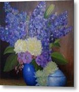 Delphiniums In Blue Vase Metal Print
