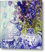 Delphiniums With Antique Blue Pots Metal Print